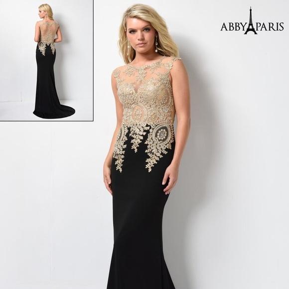 Abby Paris Dresses Prom Plus Size Dress Goldblack Size 26 Poshmark